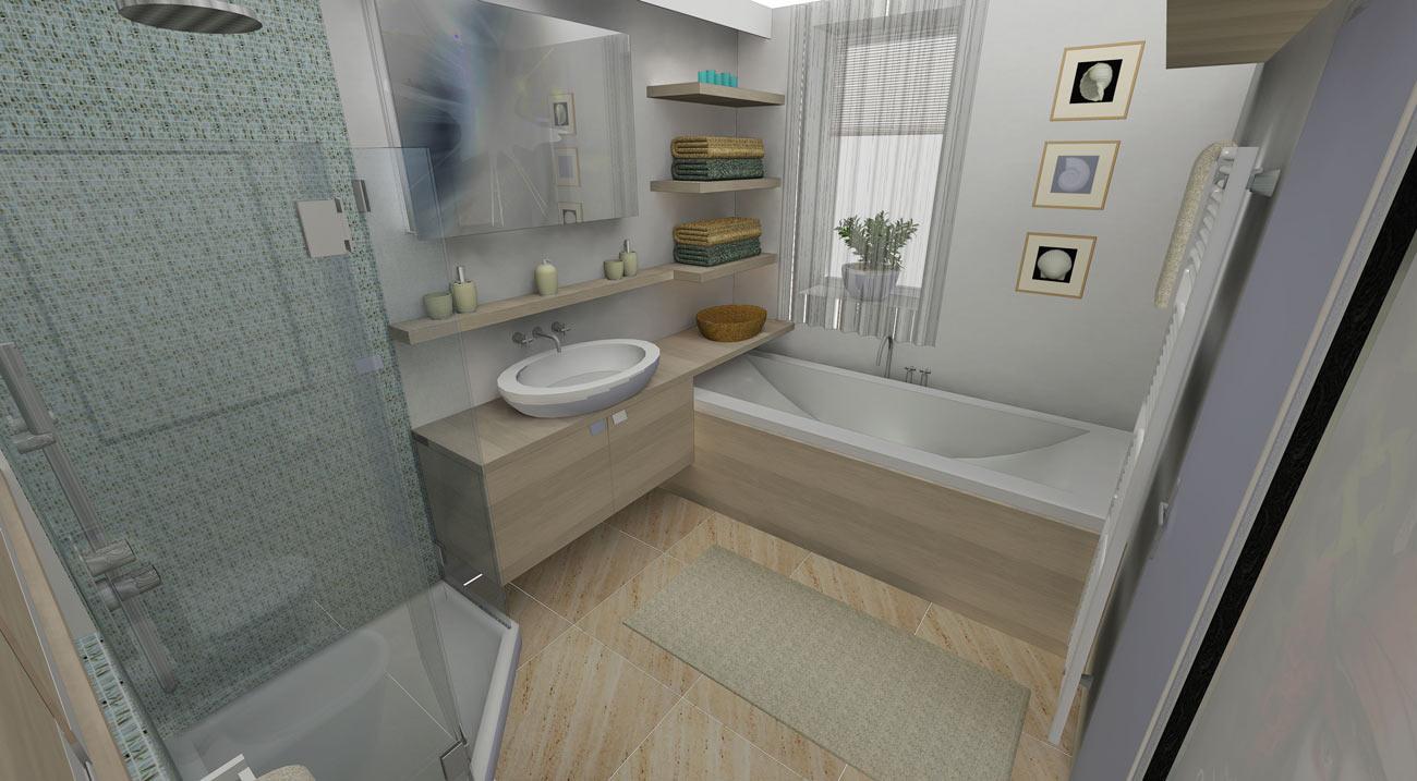 Spořilov, finální návrh a render vizualizace koupelny 2