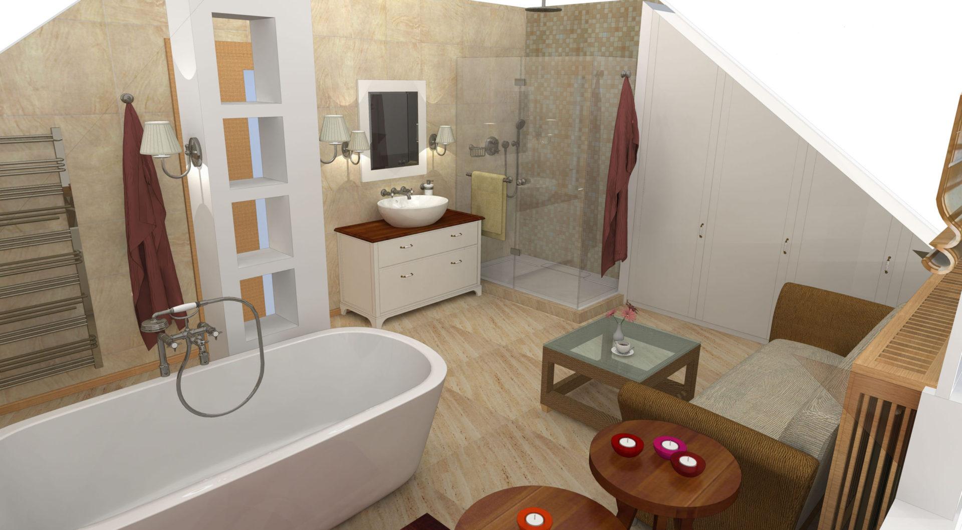 Břežany, poměrně členitá a velká koupelna v podkroví domu.