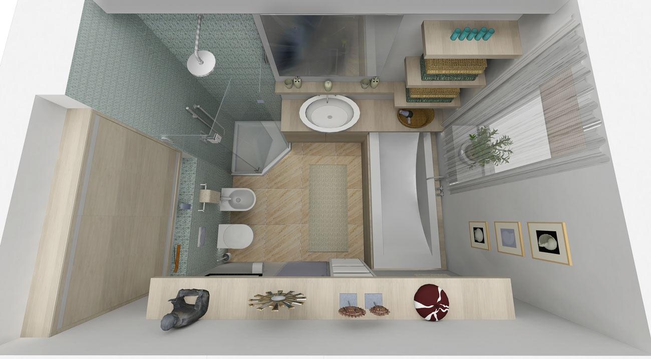 Spořilov, finální návrh a render vizualizace koupelny.