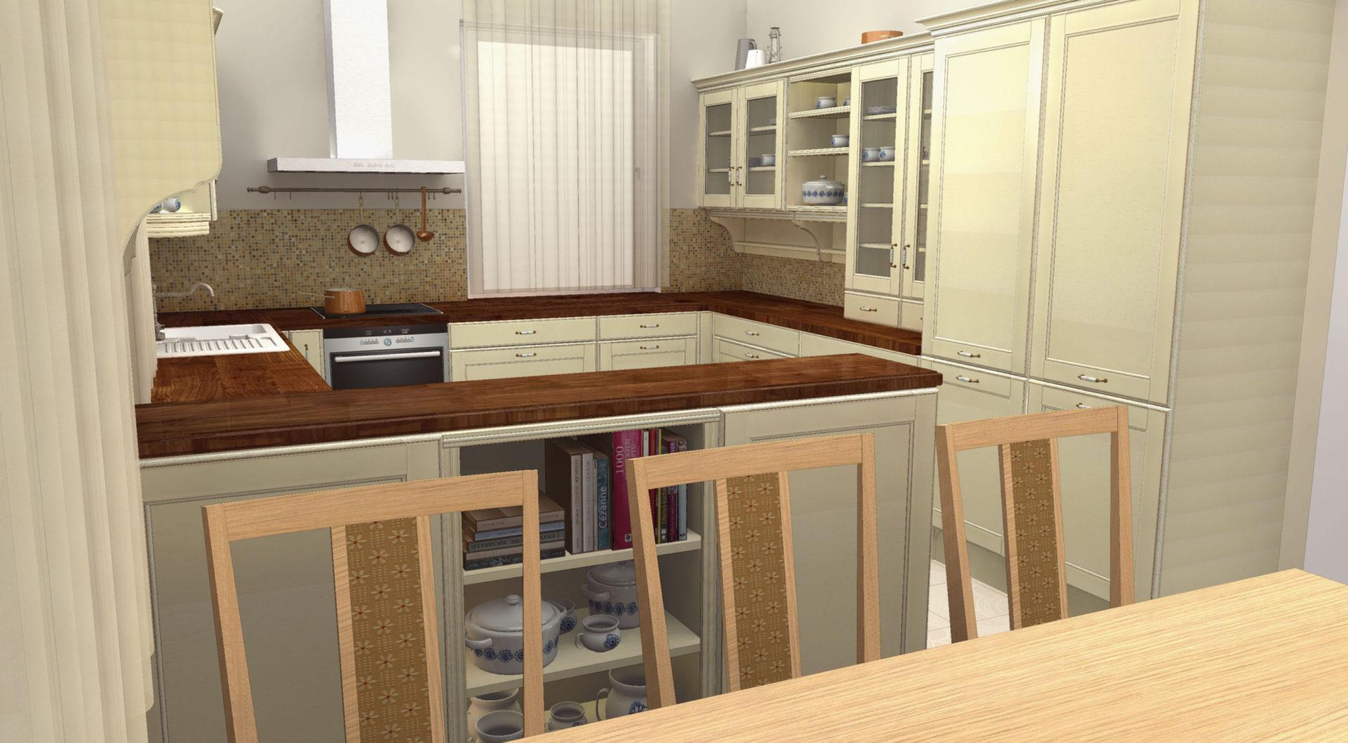 Břežany. Kuchyně v moderním secesním hávu.