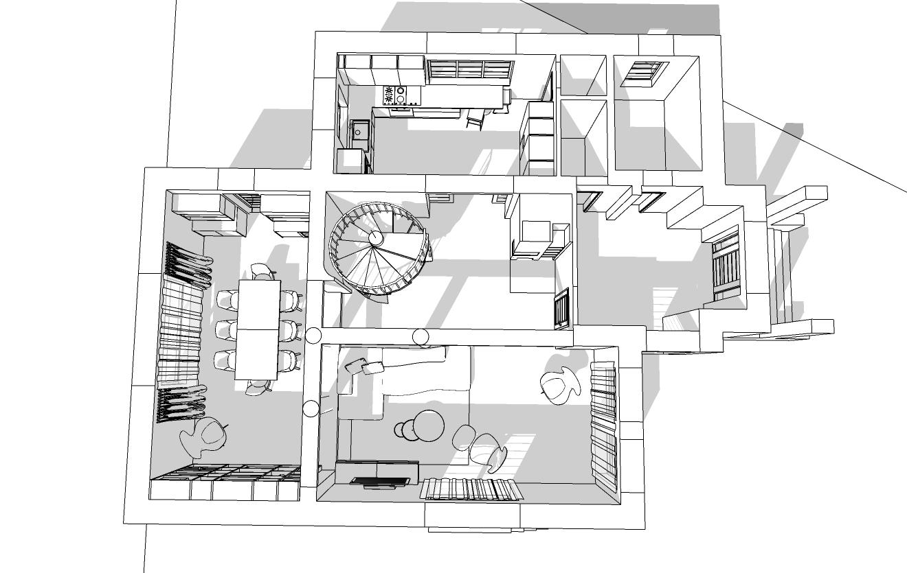 Spořilov, začátek navrhování přízemí domu 4