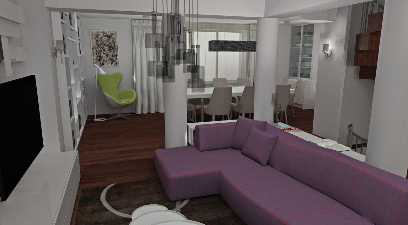 Finální návrh a render vizualizace obývacího pokoje.